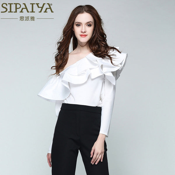 SIPAIYA One Shoulder Ruffles Shirt Women Tops Summer Casual Blue Striped Long Sleeve Blouse