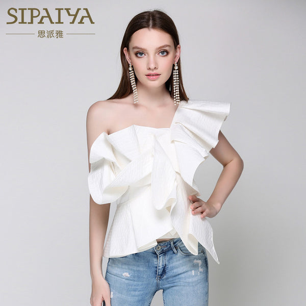 SIPAIYA One Shoulder Ruffles Blouse Shirt Womens Off Shoulder Cool Summer Blouse