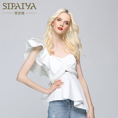 Ruffles Off Shoulder Blouses Women Summer Slim Blouse One Shoulder Shirt Tops White Black