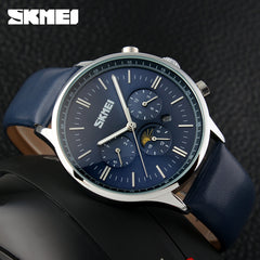 SKMEI Men's Quartz Watch Luxury Watches Casual Blue Genuine Leather Waterproof Wristwatch