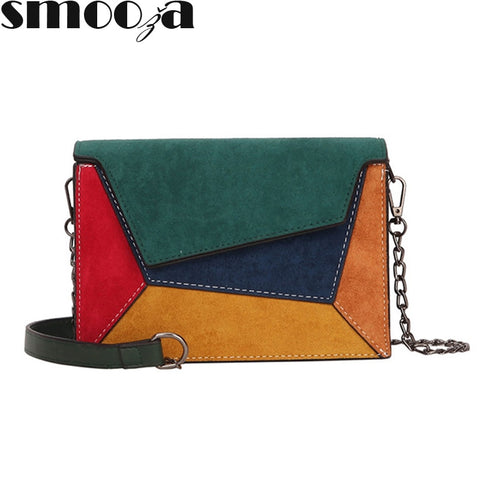 Retro Matte Patchwork Crossbody Bags Women Messenger Chain Strap Shoulder Small Flap Criss-cross Bag