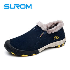 SUROM Brand Real Leather Mens Winter Snow Boots Warm Casual Shoes