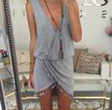 Saenshing Beach Dress Deep V-neck Tassel Boho Summer Dresses Tunic Casual Sundress