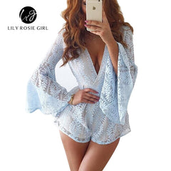 See Though Back Hollow Out Women Playsuits Lace Long Sleeve Party Jumpsuits Short Rompers