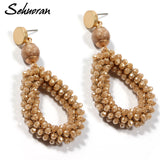 Bohemian Earrings Women Crystal Stone Beads Handmade Zinc Alloy Big Long Earrings Vintage Jewelry