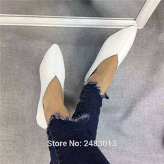SexeMara Handmade Genuine Leather Women Shoes Simple Soft Cowhide Ladies Flat Shoes