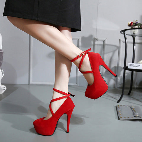 Big Pumps Women Red Thick Bottom High Heels Office Shoes Soft Flock Bridal Single Footwear