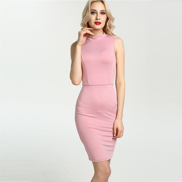 Sexy Women Party Dresses Short Open Back High Neck Sleeveless Bodycon Casual Midi Dress