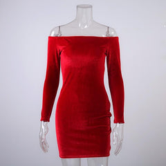 Off Shoulder Red Sheath Velvet Dress Women Winter Party Long Sleeve Pencil Bodycon Dress Vestidos