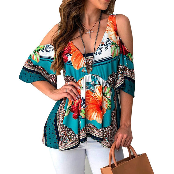 Off Shoulder Women Blouses Casual Half Sleeve Streetwear Floral Print Shirts