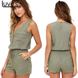 Sleeveless Bodysuit V-neck Zipper Pockets Playsuit Shorts Romper Summer Overalls Frock Jumpsuit