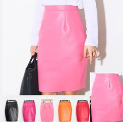 Washed PU Leather Split-sided High Waist Hip Skirt Pink Red Black Zipper Step Pencil Skirt