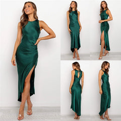 Sleeveless Satin Silk Strappy Dress Split Slim Party Backless Hollow Out Lace-up Asymmetrical Dress