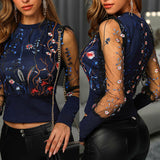 Women Spring Fall Embroidery Floral Shirt Blouses Tops Mesh Puff Long Sleeve Patchwork Outwear