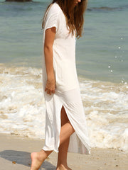 Summer Long Dresses Boho White Embroidery V Neck Short Sleeve Print Split Side Maxi Dress