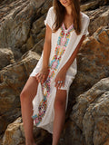 SheIn Summer Beach Long Dresses Boho White Embroidery V Neck Short Sleeve Print Split Side Maxi Dress