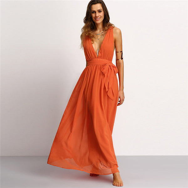 V Neck Self-tie Waist Maxi Dresses Bohemian Summer Women Orange Sleeveless Backless Long Dress