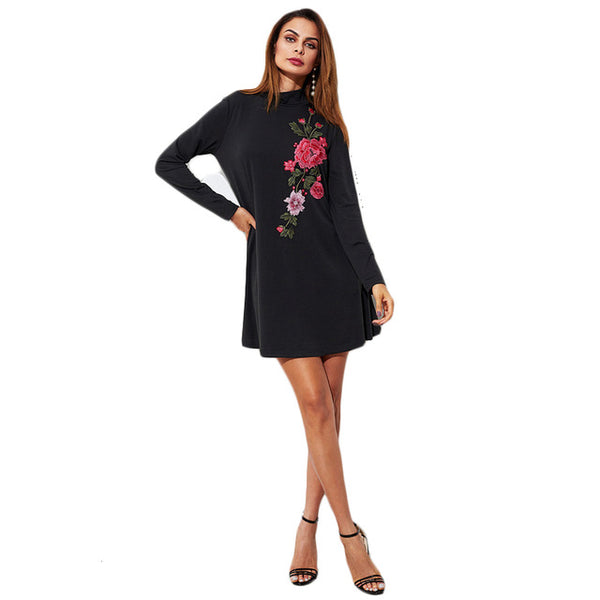 Embroidered Flower Patch Tee Dress Black High Neck Long Sleeve A Line Plain Fall Casual Dresses