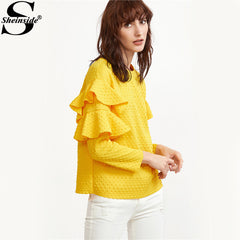 Layered Ruffle Sleeve Blouses Women Yellow Polka Dot Embossed Cute Tops Spring Casual Blouse