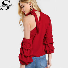Sheinside Red Self Tie Choker Tops Asymmetric One Shoulder Women Summer Sweet Layered Blouse