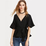 Sheinside Surplice Wrap Tops Flutter Sleeve Women Work Summer Girls Ruffle V Neck Blouse