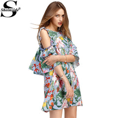Sheinside Summer Dresses Sexy Open Shoulder Floral Stripe Dresses Cute Frill Mini Tunic Party Dress