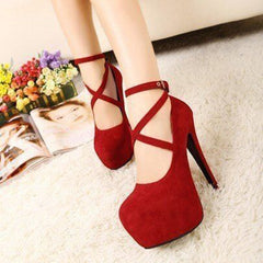Women Pumps Cross-tied Ankle Strap Wedding Party Shoes Platform High Heels Suede Shoes