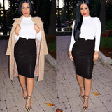 Winter Autumn Women PU Leather Skirt High Waist Pencil Skirts Vintage Bodycon Bandage Midi Skirt