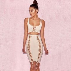 Hollow Out Bandage Dresses Summer Sleeveless Lace Up Two Piece Dress Bodycon Party Dress