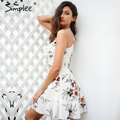 Simplee A-line Ruffles Floral Print Summer Dress Deep V Neck Backless Casual Party Short Dress