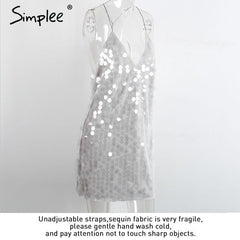 Sequin Sundress Backless Luxury Slip Dress Party Short Women Autumn Video Winter Dress