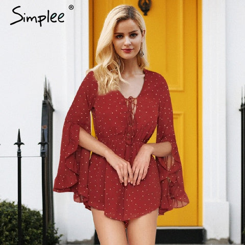 Flare Sleeve Dot Chiffon Romper Deep V-neck Red Bodysuits Women Elastic Waist Lace Up Playsuit