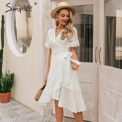 Ruffled Wrap Dress V Neck Plaid A-line Midi Dresses Beach White Vestidos