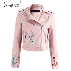 Embroidery Faux Leather Coat Motorcycle Zipper Red Jacket Women Cool Outerwear Winter Jacket