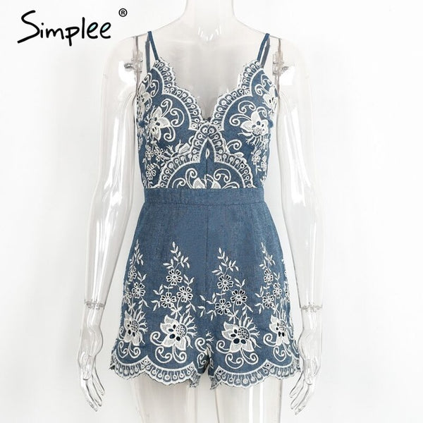 Simplee Embroidery V Neck Summer Jumpsuit Romper Strap Floral Playsuit Sexy Zipper Short Overalls