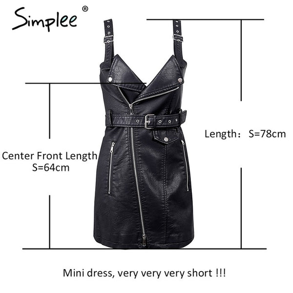 Simplee PU Leather Dress Women V Neck Mini Dress Slash Zipper Winter Black Short Sundress
