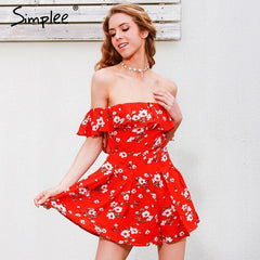 Off Shoulder Ruffles Print Jumpsuit Romper High Waist Playsuits Boho Summer Overalls