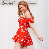 Simplee Off Shoulder Ruffles Print Jumpsuit Romper High waist Playsuits Leotard Boho Summer Pleated Overalls