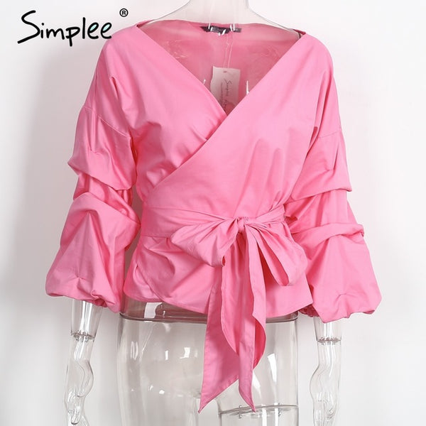 Simplee Ruched Sleeve Wrap White Blouse Women Casual Off Shoulder Plaid Shirt Top V Neck Blouse