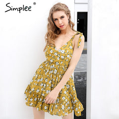 Simplee Backless Padded Print Summer Dress V Neck Beach Dresses Boho Strap Yellow Short Dress