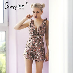 Ruffle Floral Jumpsuit Romper Deep V Neck Backless Overalls Casual Hollow Out Summer Playsuit