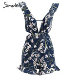 Simplee Ruffle Floral Print Jumpsuit Romper Deep V Neck Backless Overalls Casual Hollow Out Summer Playsuit