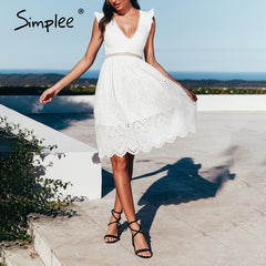 White Summer Dress Backless V Neck Ruffle Cotton Lace Vintage Holiday Beach Short Dress