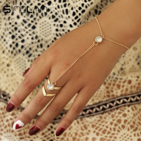 Gold Big Crystal Ring Bracelet Wrist Chain Jewelry Hand Back Chain Bangles Arm Link Ornaments