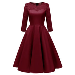 Women Autumn Winter Evening Party Work Satin Hollow Out Floral Lace Dress