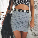 Women Spring Autumn Street American Apparel High Waist Bandage Bodycon Cross Fold Pencil Skirts