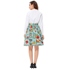 Women Floral Print Retro Cotton Women Skater Midi Skirt High Waist Short Vintage Pleated Skirt