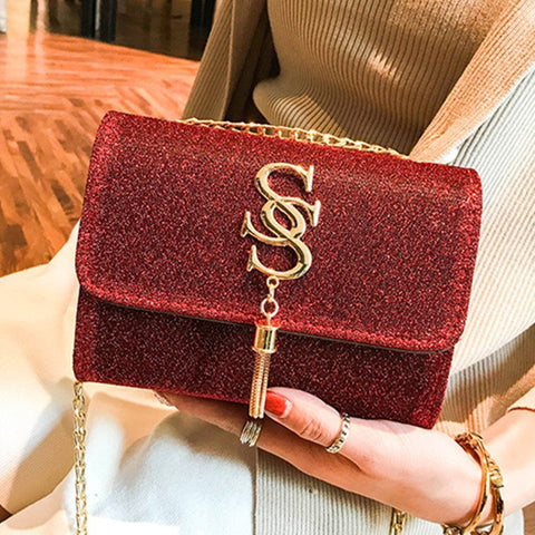 Small Women Bags PU Leather Brand Handbag Luxury Messenger Chains Tassel Bag Purse