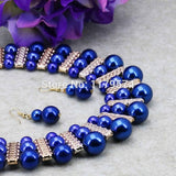 Imitation Pearl Necklaces Earrings Sets Chain Blue Beads Jewelry Women Girls Gifts
