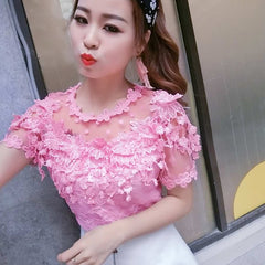 Spring Summer Floral Women Short Sleeve Hollow-out White Lace Top Bottom Shirt